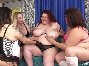 Three BBWs get pussy hammered by big dick