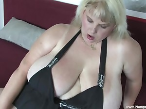 Solo BBW Juliana B. needs to moan while she plays all over sex toys